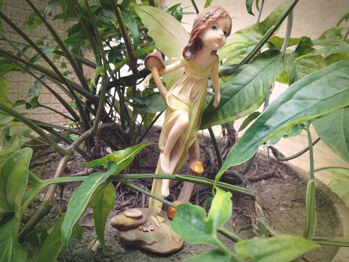 Fada Verde no Pé de Cogumelos 21 x 9 cm