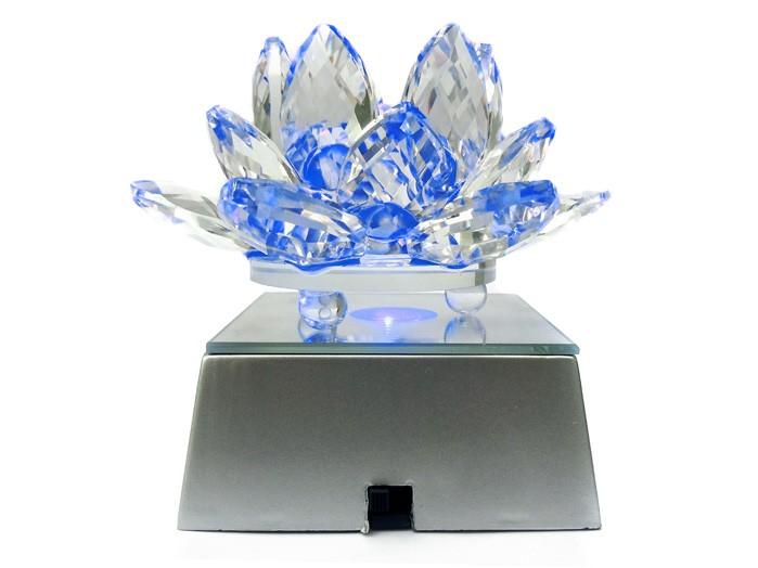 Flor De Lotus Cristal 9 cm Led Cores