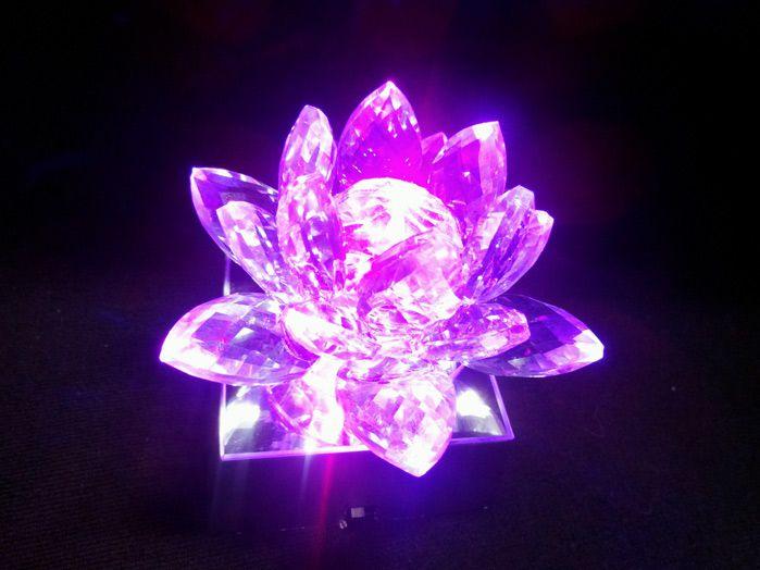 Flor De Lotus Cristal Verde 11 cm