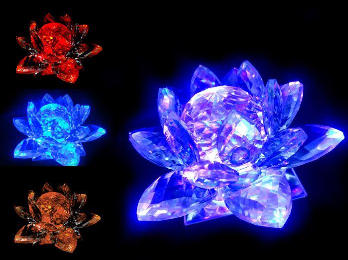 Flor De Lotus Cristal Verde 13 cm