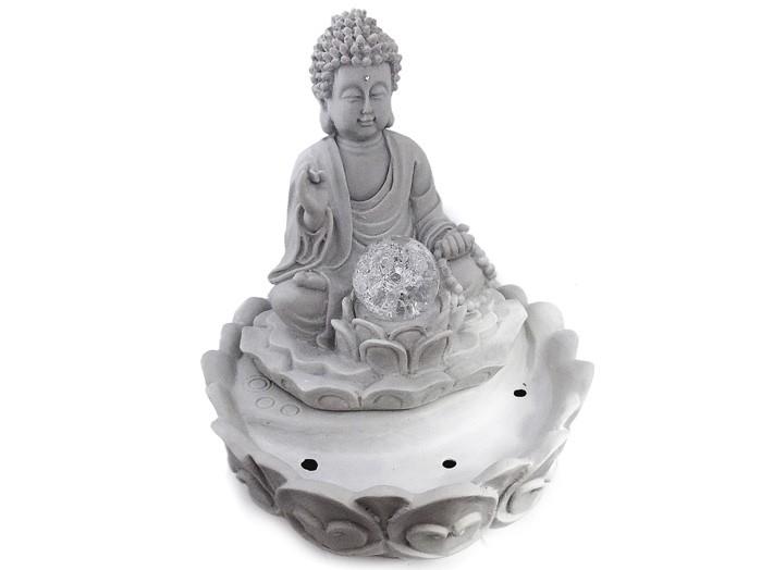Fonte de Água Buda Meditação 29 cm Pó de Marmore
