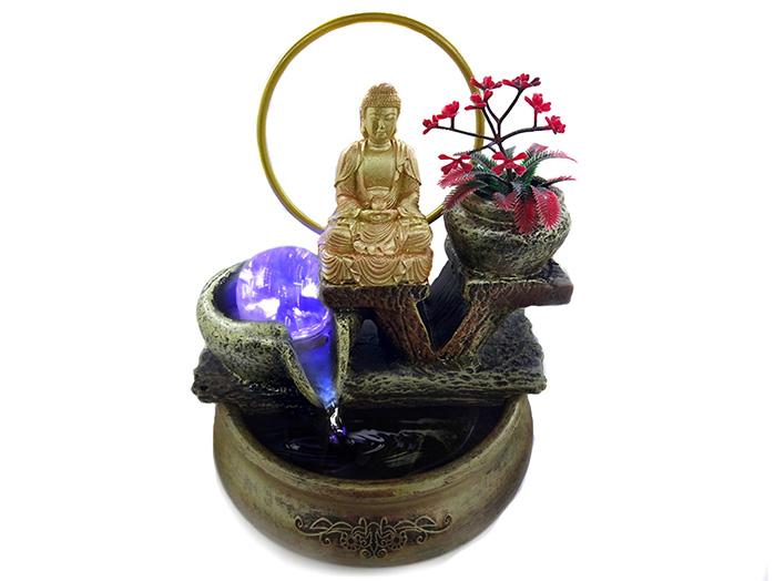 Fonte de Água Buda Dourado 23 cm