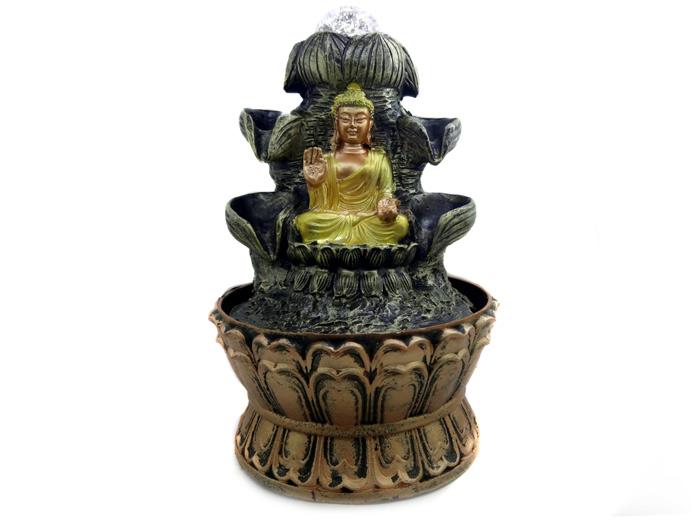 Fonte de Água Buda Dourado Vitarka Mudra 21 cm