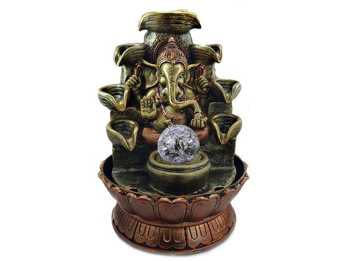 Fonte de Água Cascata Deus Ganesha Dourado 27 cm