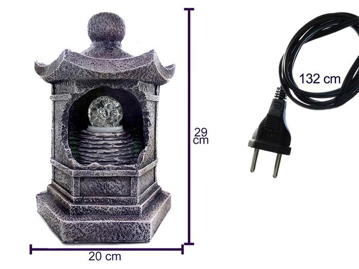 Fonte de Água Lanterna Japonesa Cinza 29 cm