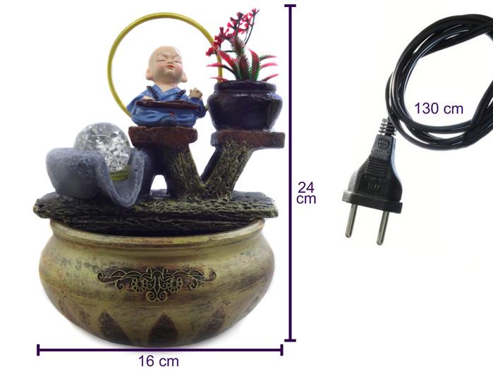 Fonte de Água Monge Tocando Pequeno 24 cm