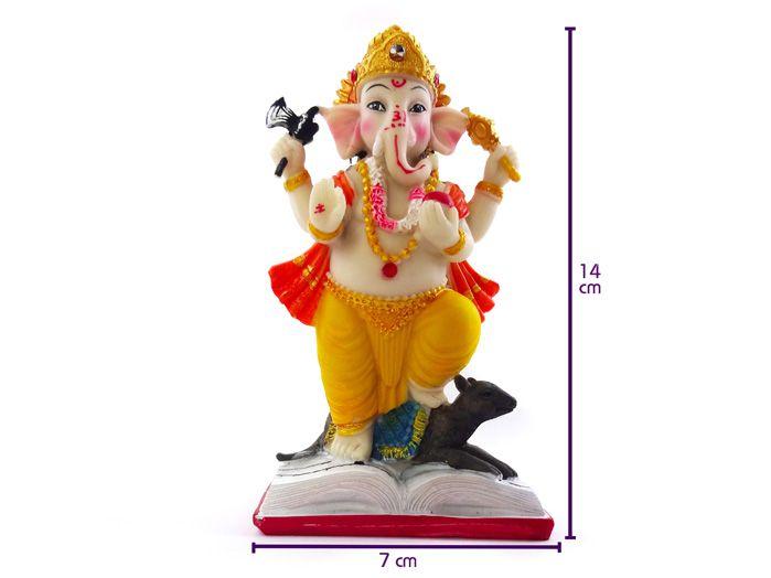 Ganesha Prosperidade Colorido Em Pé 14x7cm Deus Hindu