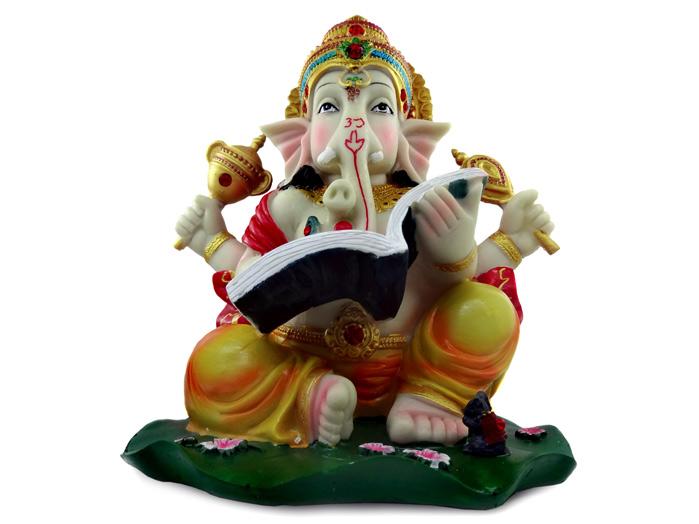 Ganesha Sentado Escrevendo Hindu Deus Da Sorte 23 cm
