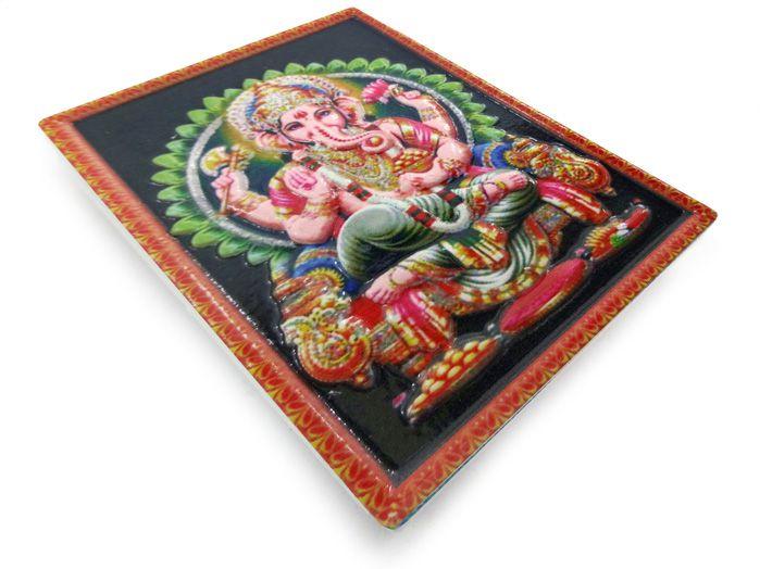 Imã de geladeira Ganesha Verde 7 x 5 cm