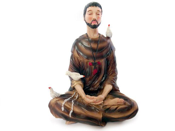 Estátua São Francisco Assis Meditando Lotus 20 x 14 cm