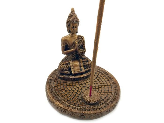 Incensário Buda Mosaico Dourado (9 cm)