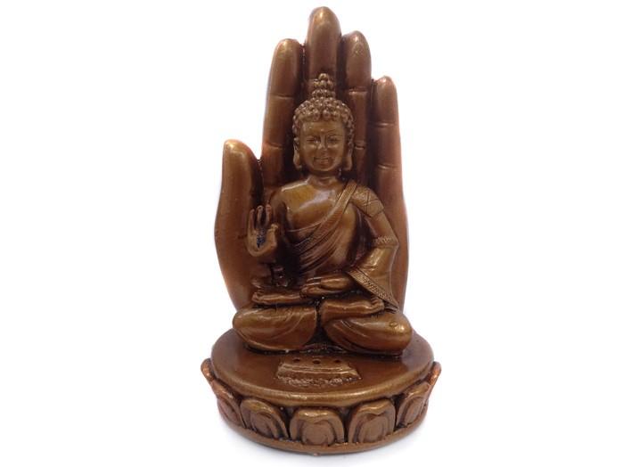 Incensário Buda Mão 3 Varetas Dourado Escuro