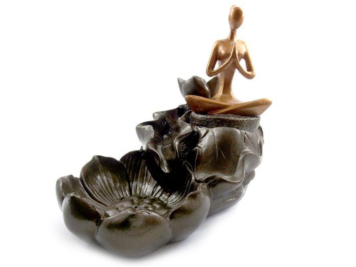Incensário Cascata Flores Yoga 13 x 15 cm