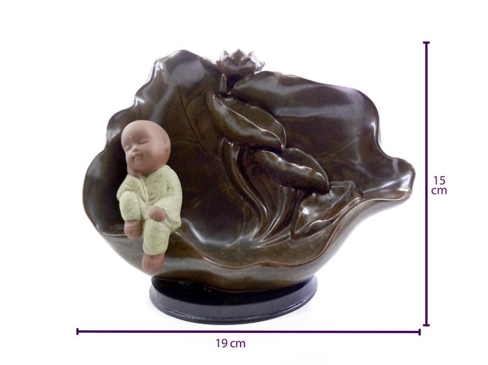 Incensário Cascata Refluxo Monge Zen 19 x 15 cm