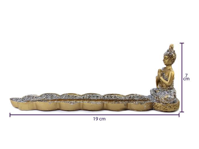 Incensário Dourado de Resina com Brilho