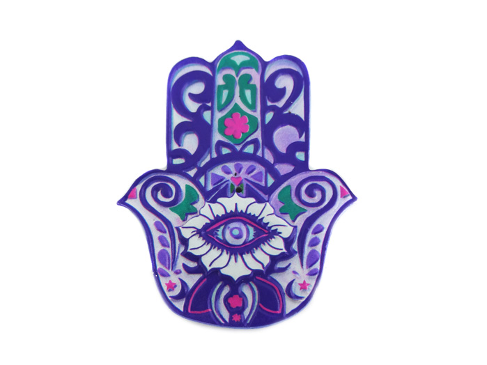Incensário e Imã Mão De Fátima Hamsa Colorido