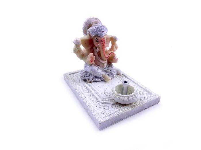 Incensário Indiano Ganesha - Enfeite Branco Decorativo 7 x 8 cm