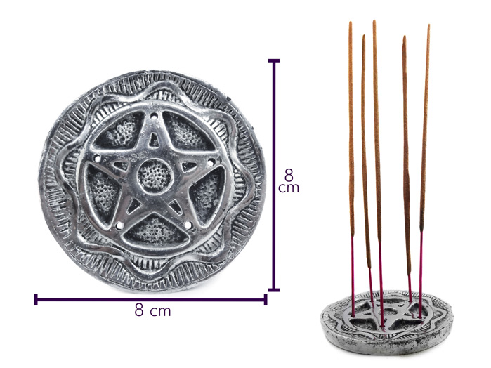 Incensário Metal Redondo Pentagrama