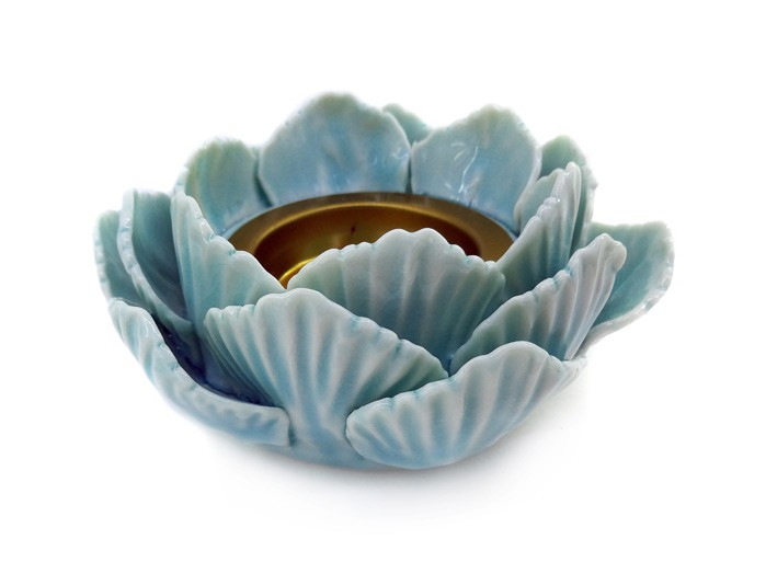 Incensário Porcelana Flor de Lotus Azul 12 cm