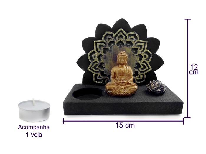 Buda Sabedoria Altar com Incensário e Porta Vela