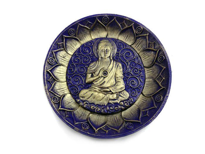 Incensário Redondo Buda Azul