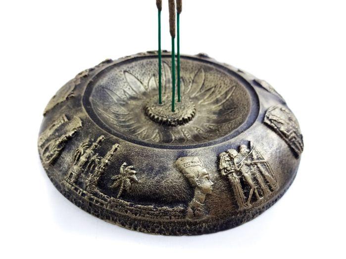 Incensário Redondo Egípcio Ouro Velho