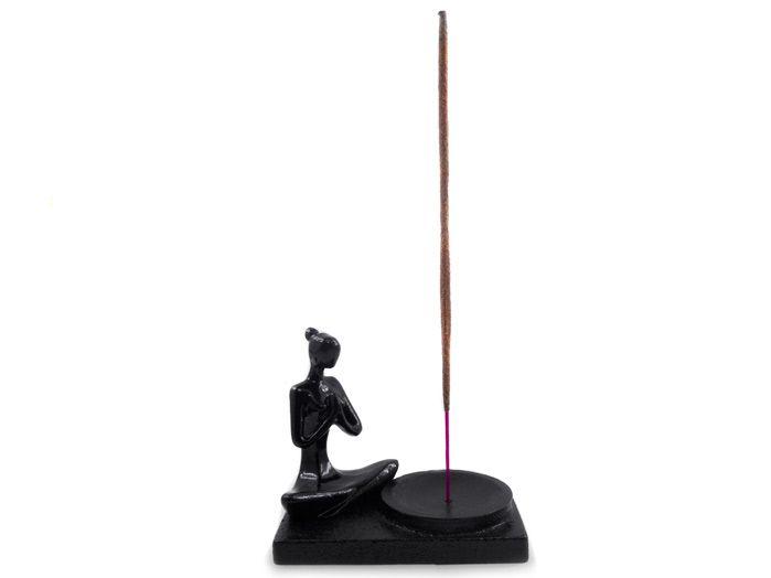 Incensário Yoga Preto 9 x 8 cm