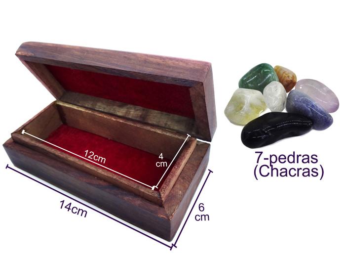 Kit Pedras dos 7 Chakras + Caixa Madeira Entalhada Indiana 14cm