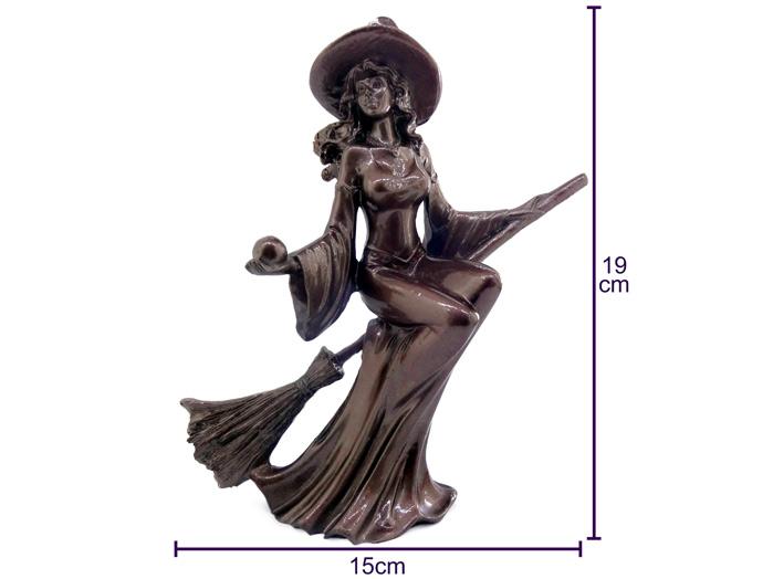 Estátua Bruxa + Altar c Pentagrama + Caldeirão de Ferro