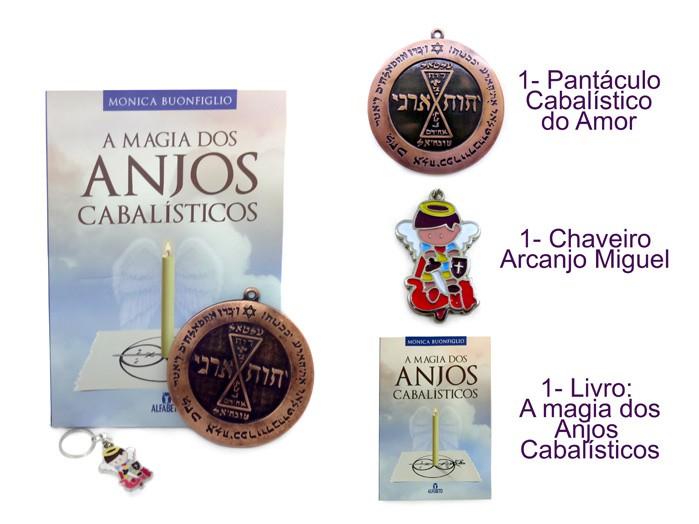 Livro A Magia dos Anjos Cabalísticos + Pantaculo Amor + Chaveiro Miguel