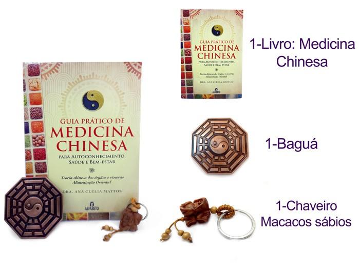 Livro Guia Pratico da Medicina Chinesa + Bagua + Chaveiro