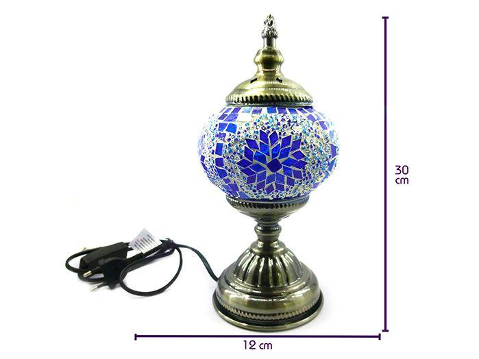 Luminária Abajur Turca em Mosaico - Azul 30 x 12 cm