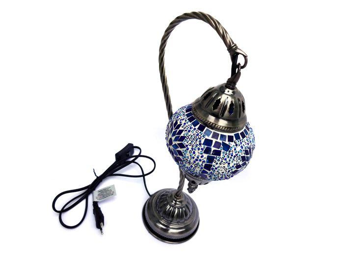 Luminária Abajur Turca com Mosaico Azul e Branco - 38 x 19 cm
