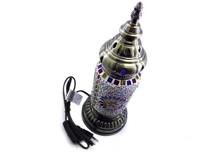 Luminária Abajur Turco em Mosaico Colorido 32 X 13 cm