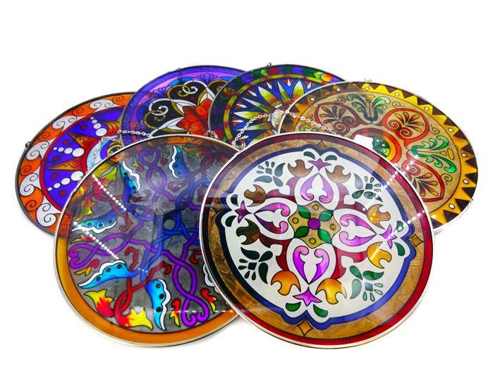 Mandala Colorida de Vidro Pendurar Artesanal