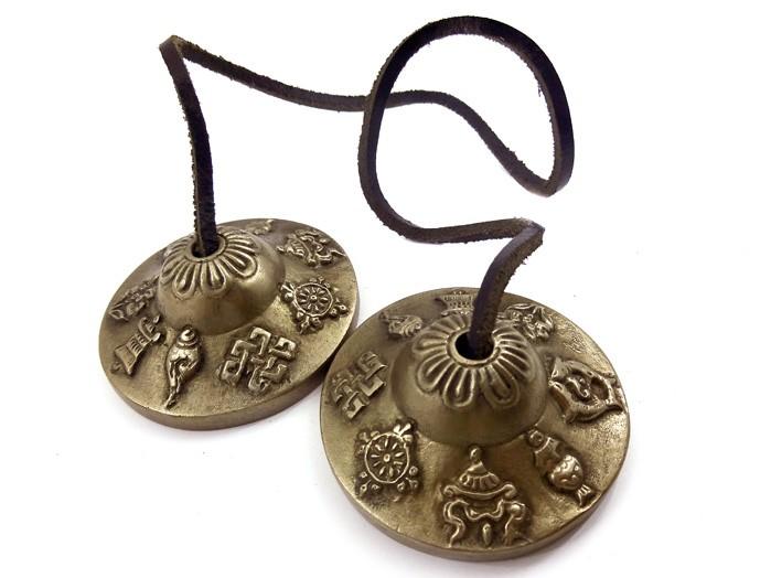 Manjira Tibetana Em Bronze 6 Cm Cimbalo Tingsha