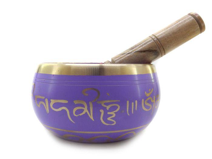 Tigela Tibetana 7 Metais Sagrados Lilas 13 cm Orin