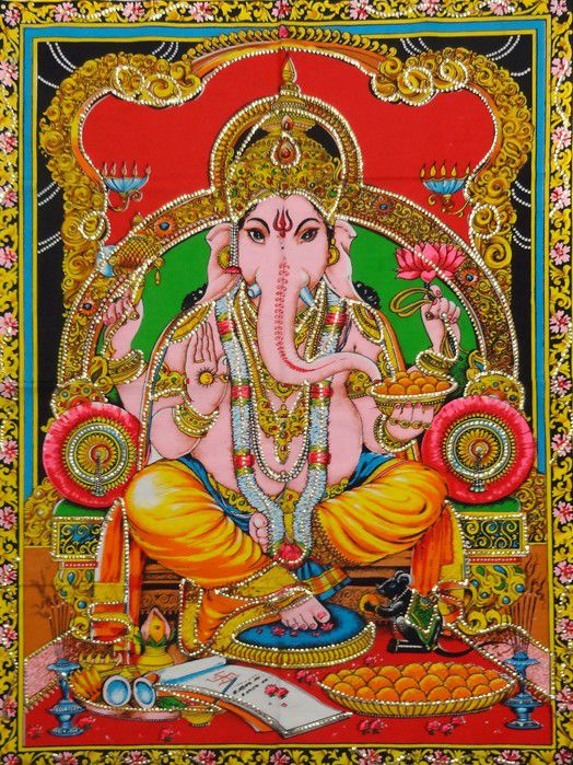 Tecido Indiano Estampado Divindade Hindu Ganesha 01 Panô