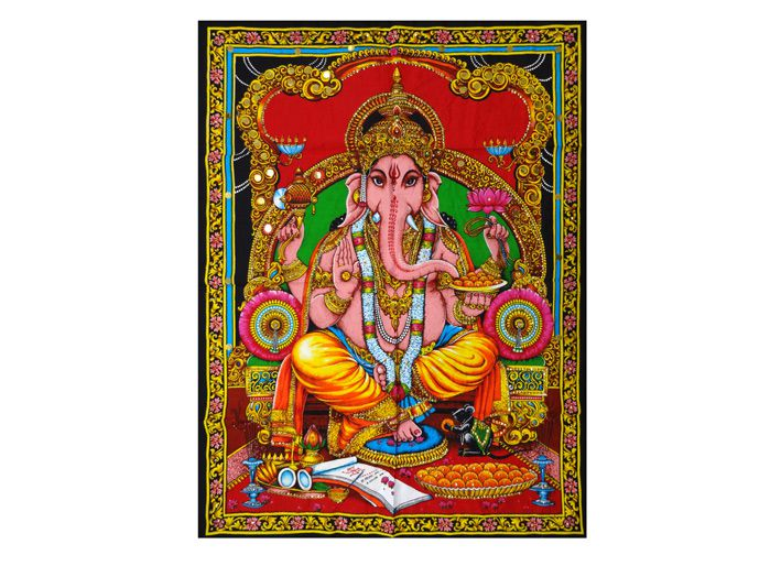 Panô Estampado Tecido Indiano Divindade Hindu Ganesha