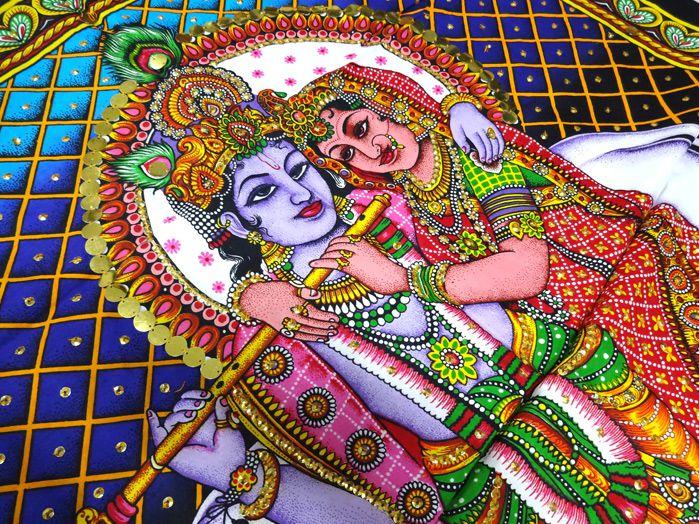 Panô Indiano Estampado Krishna Padma Fundo Azul