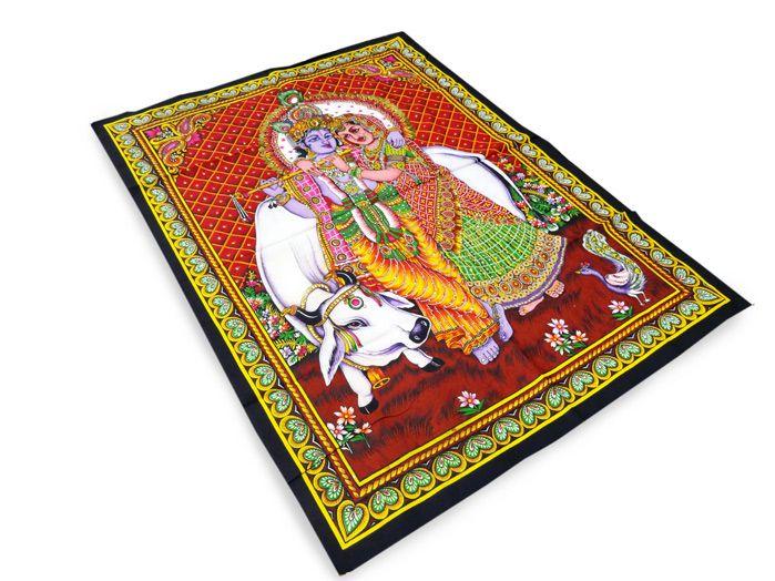 Panô Indiano Estampado Krishna Padma Fundo Vermelho