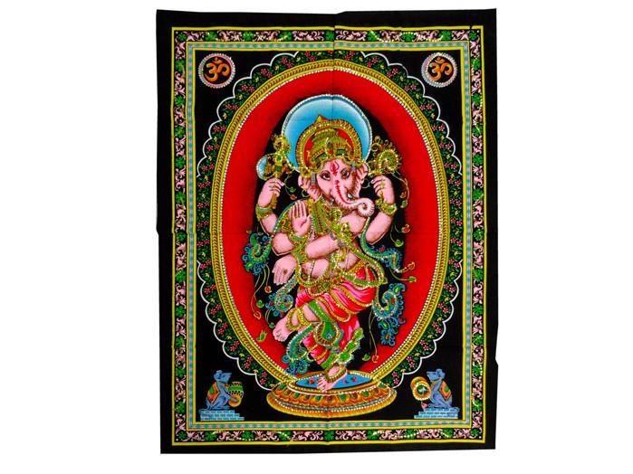 Pano Tecido Indiano Estampado Ganesha Dançando