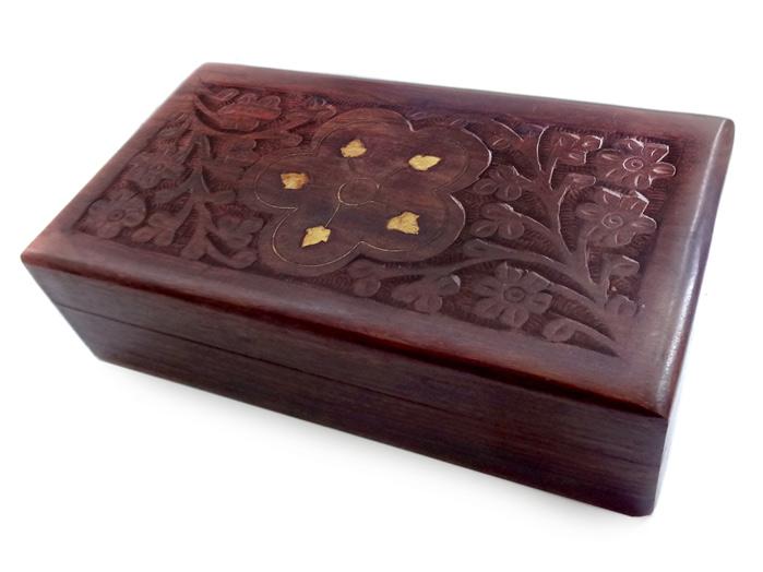 Porta Tarot  Caixa de Madeira Entalhada Indiana - 16cm