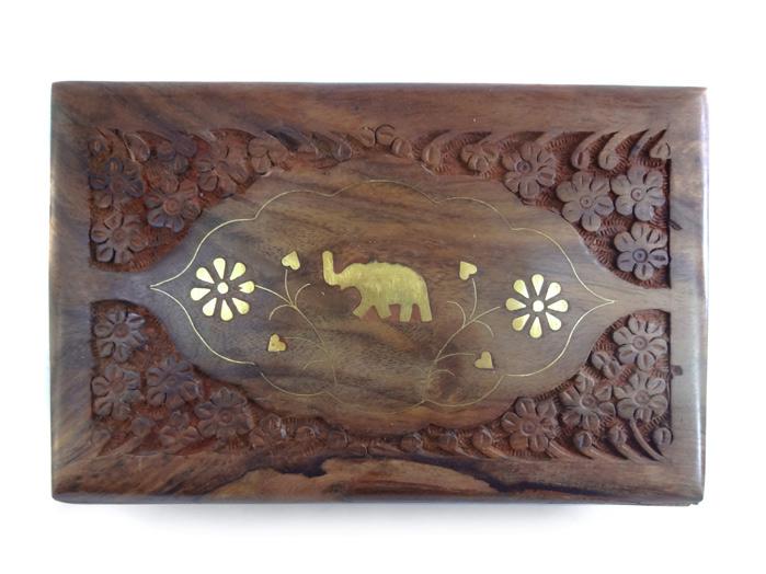 Porta Tarot e Baralho Caixa de Madeira Entalhada Indiana - 19 cm