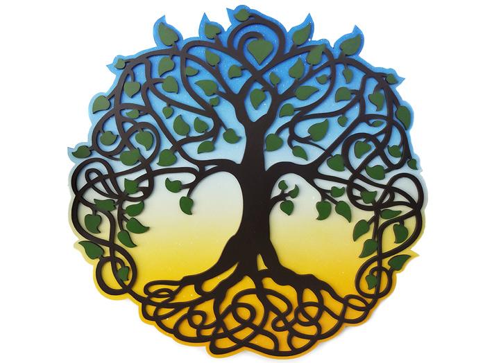 Quadro Árvore Da Vida Colorido 40 cm