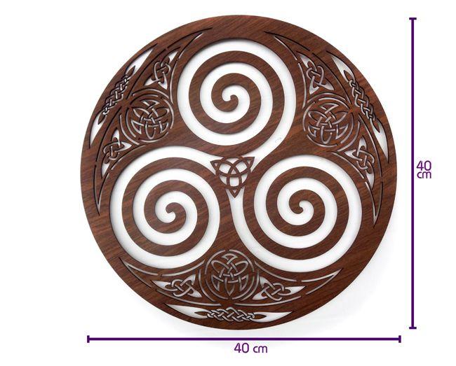 Quadro Símbolo Celta Triskle - 40x40cm