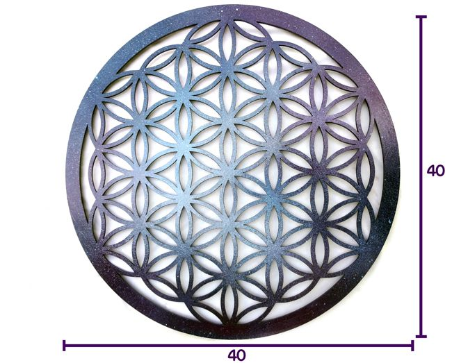 Quadro Decorativo Geometria Flor Da Vida 40 X 40 Cm Mdf