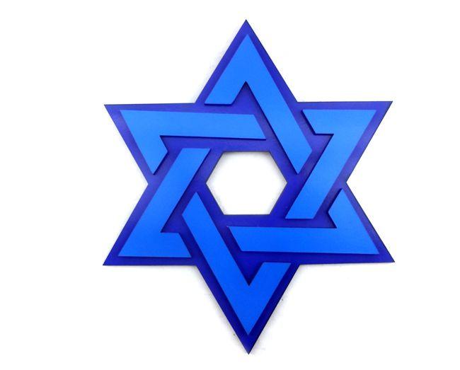 Quadro Hexagrama - Estrela de Davi - 20x17cm - Azul
