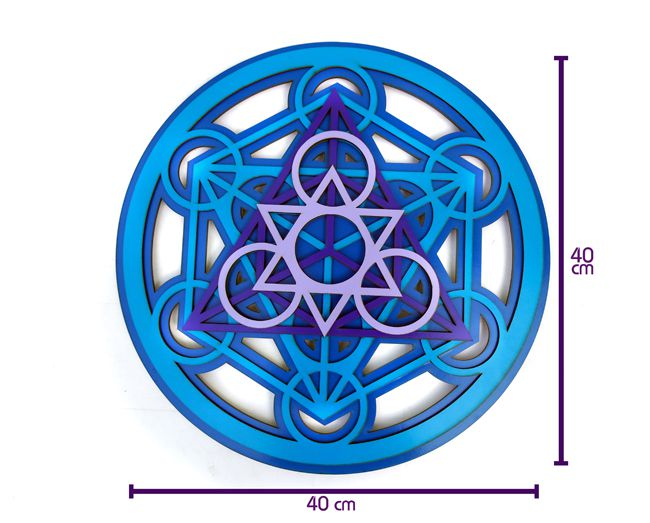 Quadro Cubo de Metatron - 40x40cm Azul