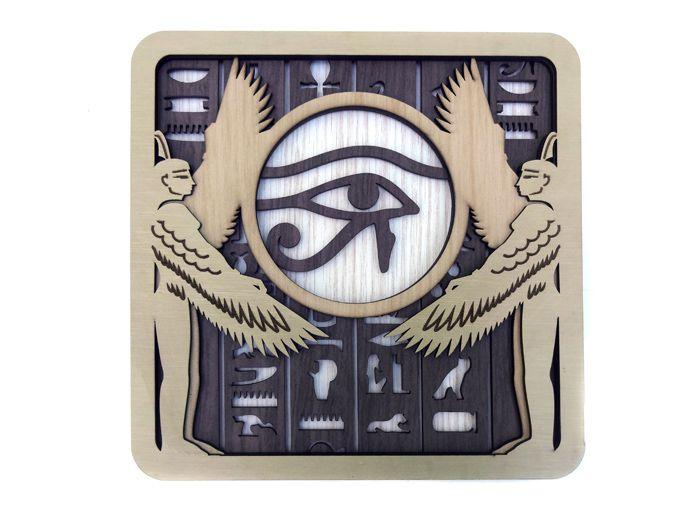 Quadro Olho de Hórus MDF 25 x 25 cm